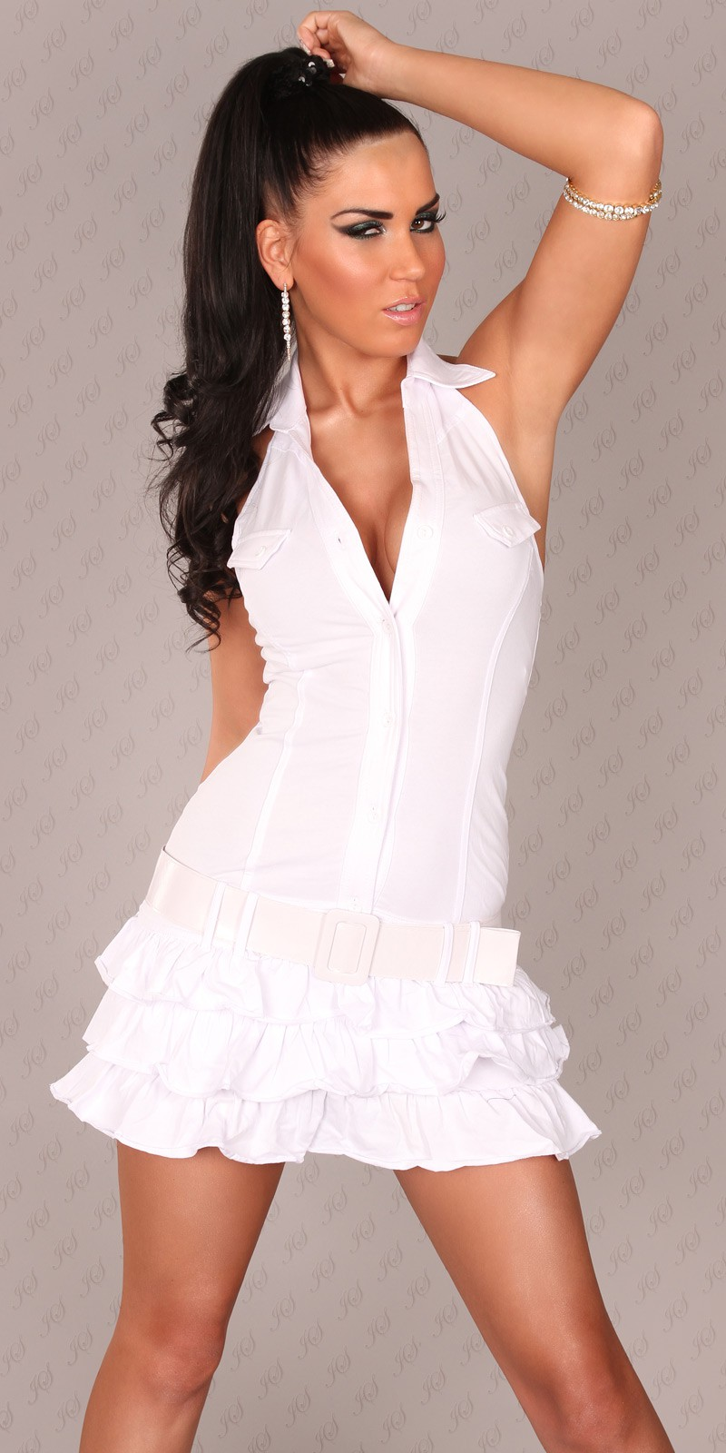 White Ruffled Mini-Dress With Belt