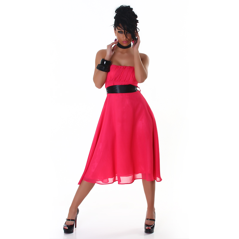 Pink Strapless Bell-Shaped Belted Midi Coctail Dress