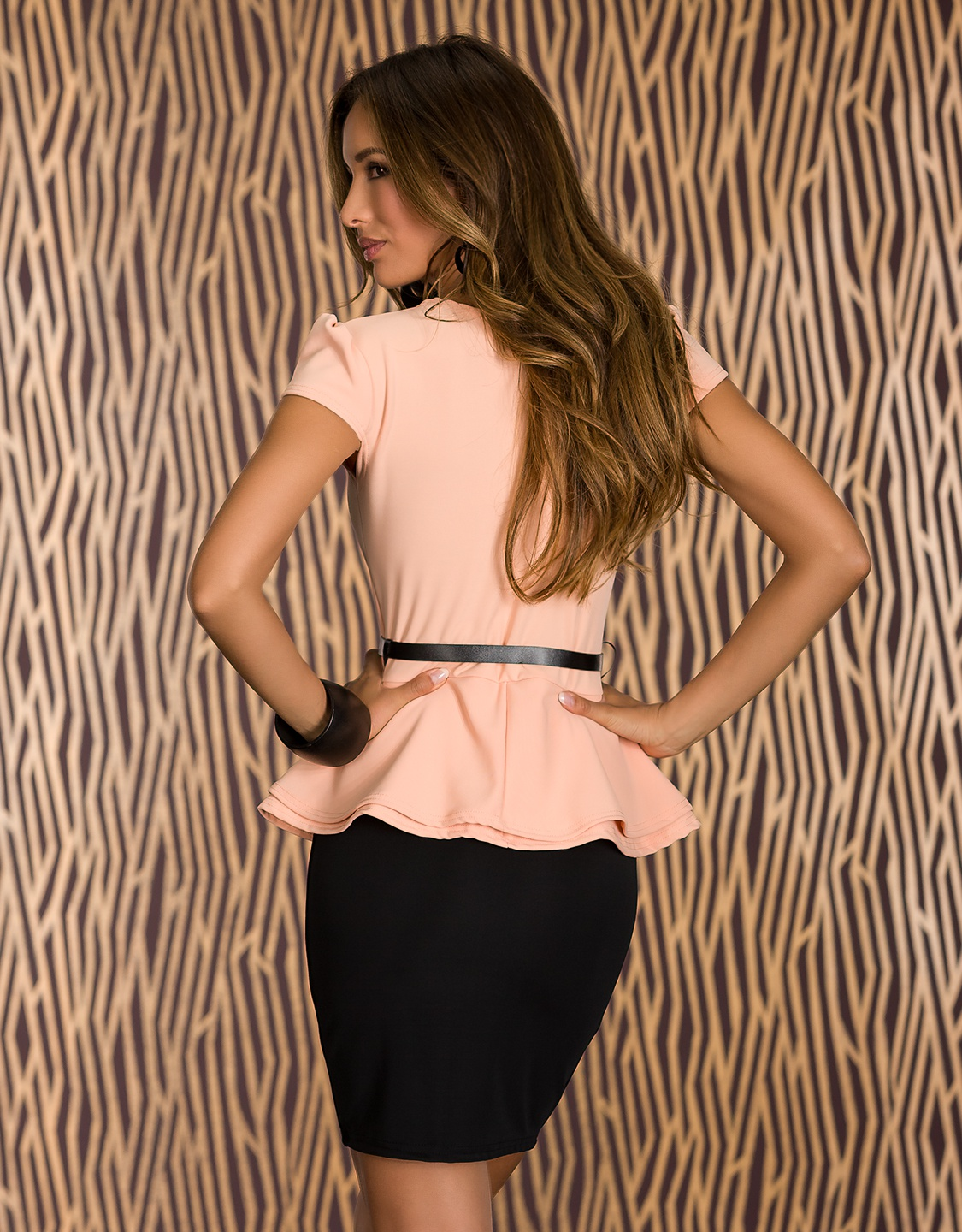 Black-Peach Belted Double Peplum Dress