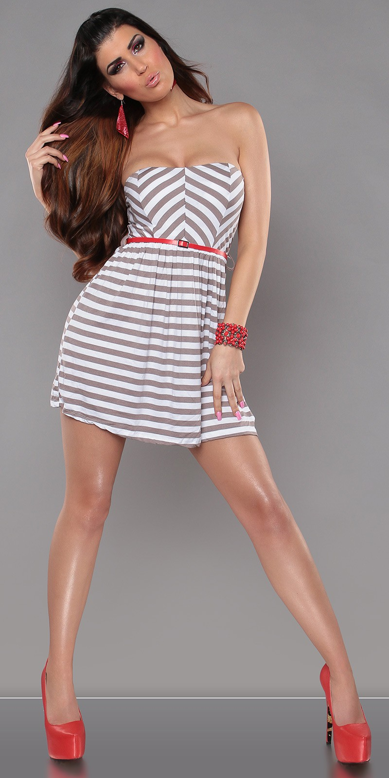 Brown Strapless Striped Dress With Red Belt