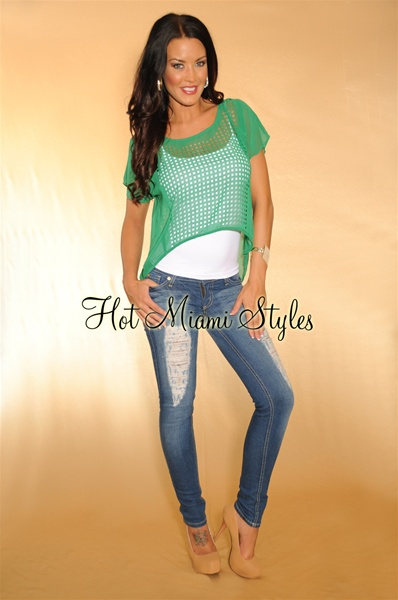 Kelly Green Perforated High Low Top