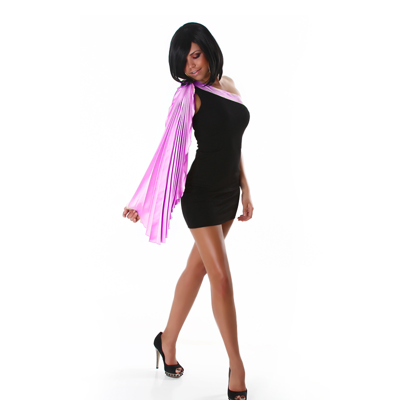 Black Evening Dress With One Pink Pleated Sleeve