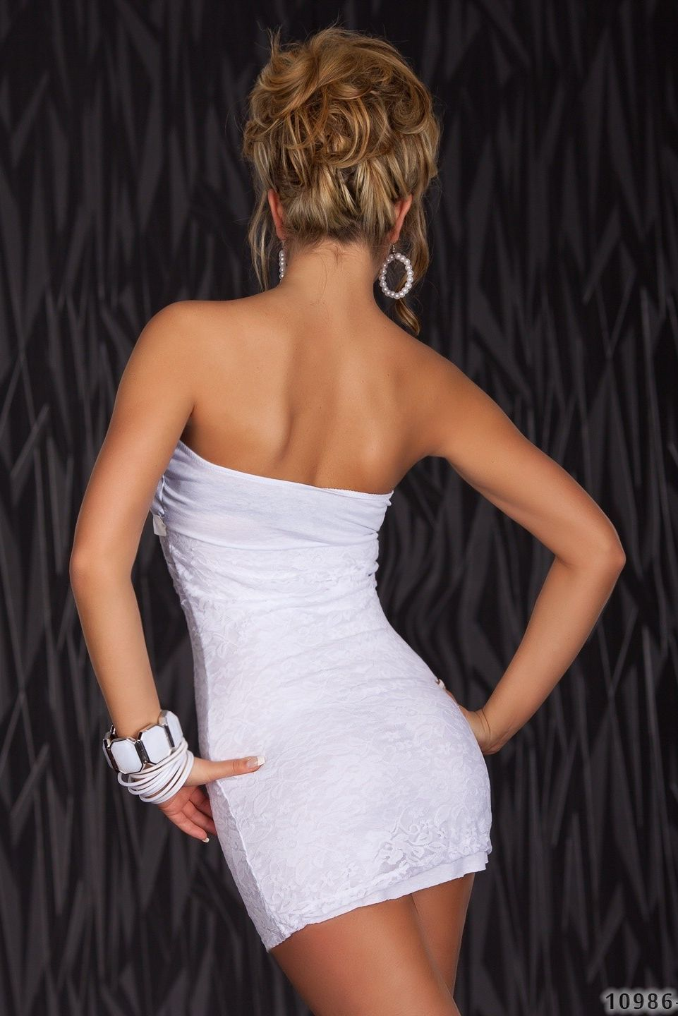 White Lace Strapless Bow Front Dress
