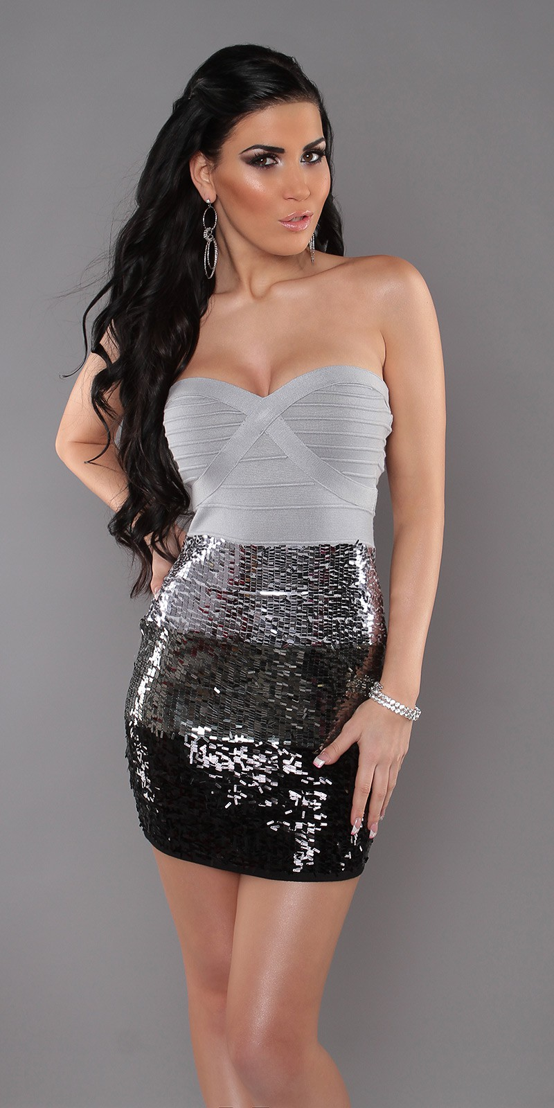 Grey Sexy Bandeau Knitted Dress With Sequins