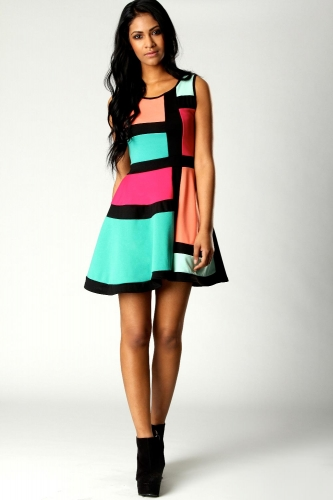 Candy Colour Block Skater Dress