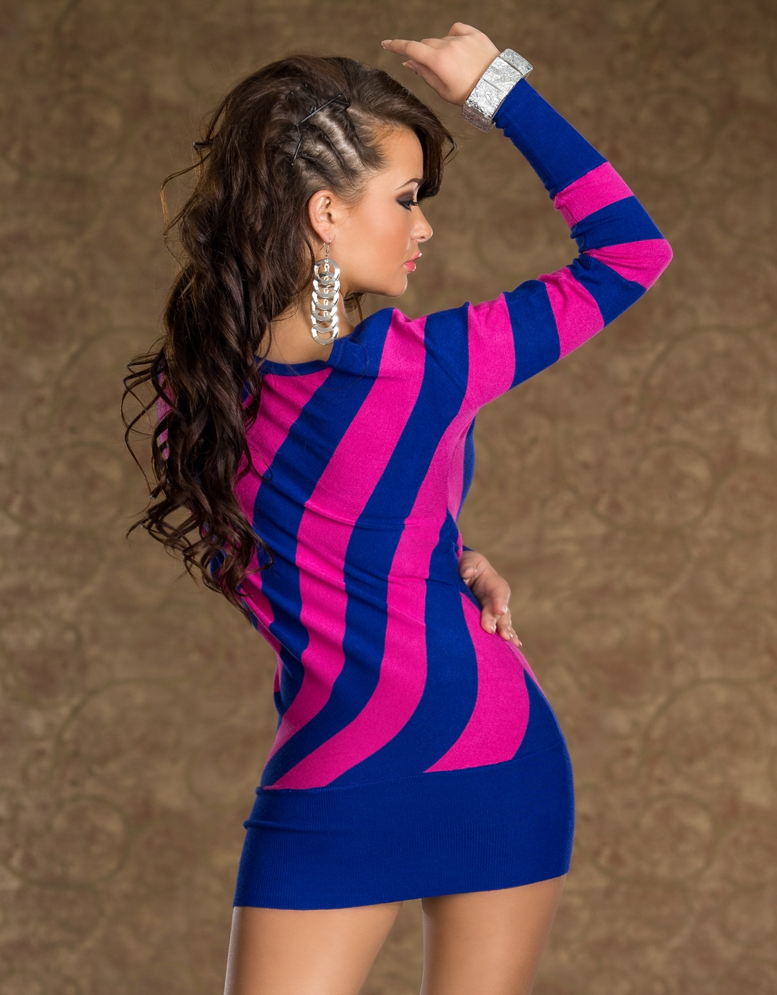 Blue-Pink Striped Knitted Sweater Dress
