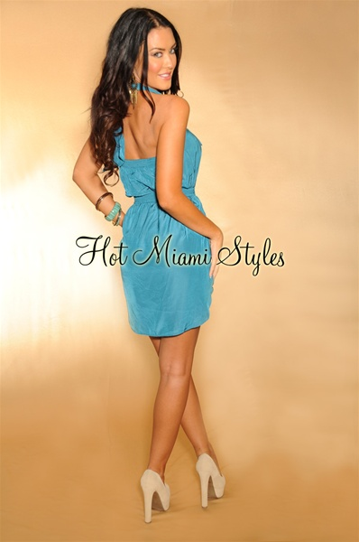 Teal Belted Halter Tunic Dress