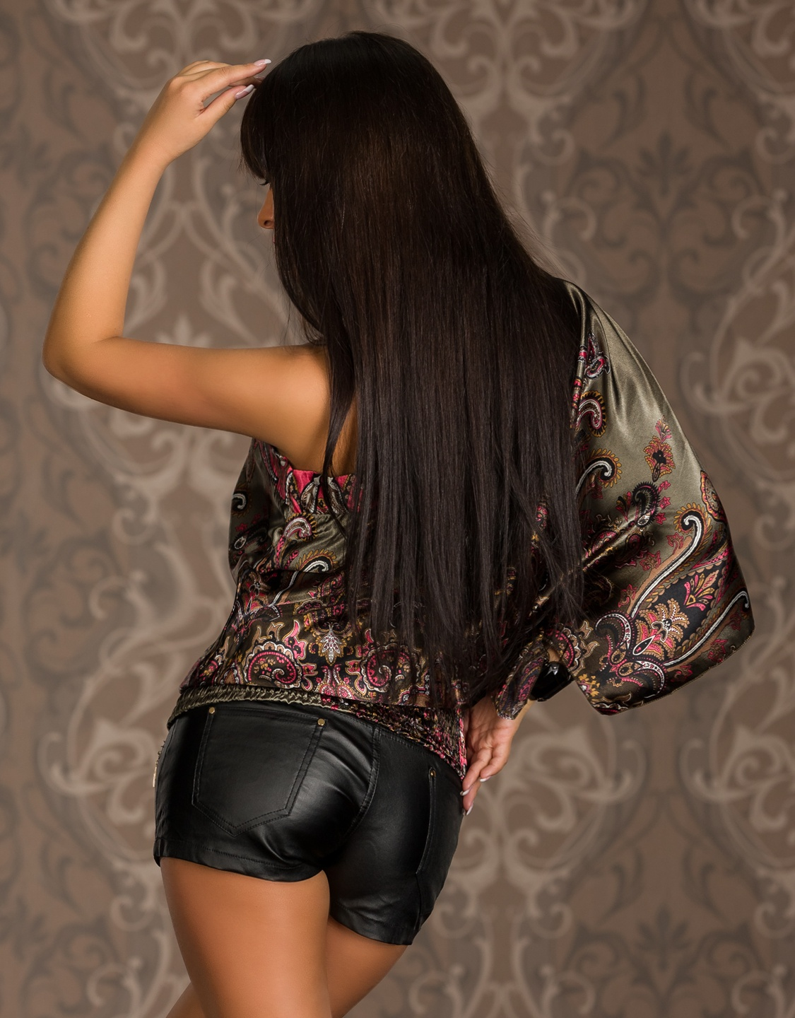 Olive Asymmetric Paisley Print One-Sleeve Top