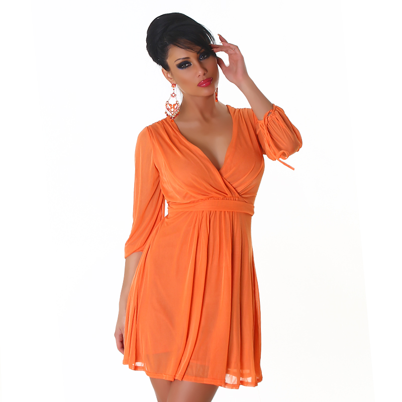 Orange V-neck High-Waisted Dress