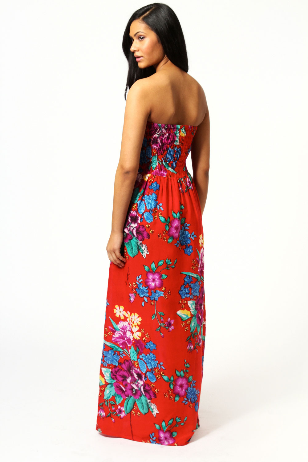 Olivia Large Latina Floral Bandeau Maxi Dress