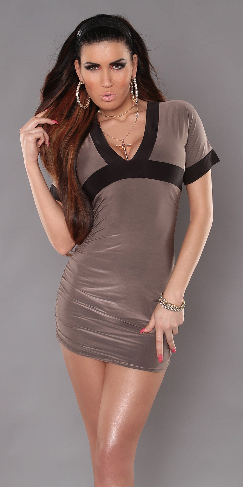 Cappuccino Sexy Minidress With V-neck