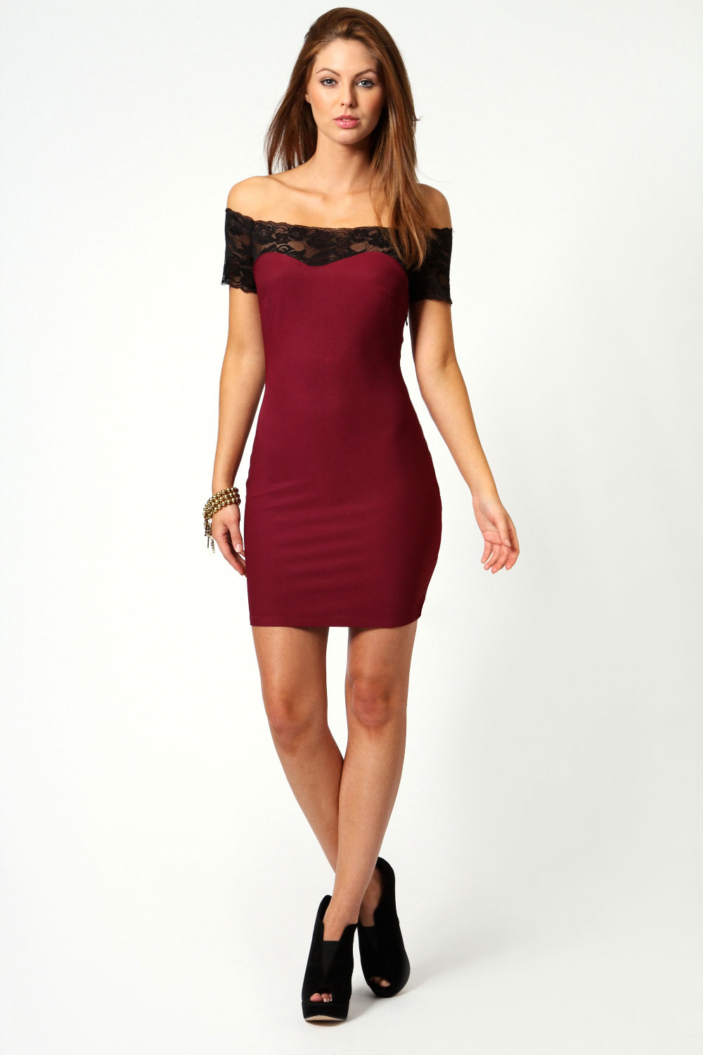 Red Megan Off the Shoulder Lace Trim Bodycon Dress