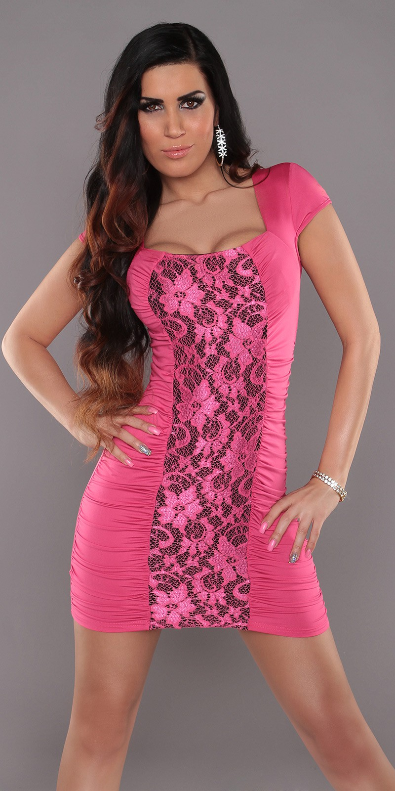Fuchsia Square Neck Dress With Lace Insert