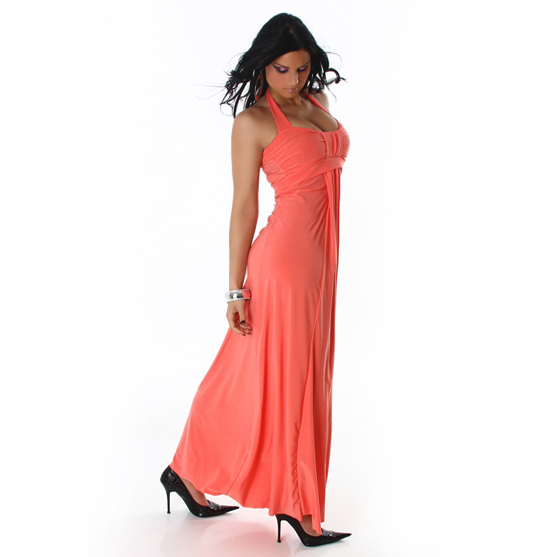 Coral Halter Long Dress