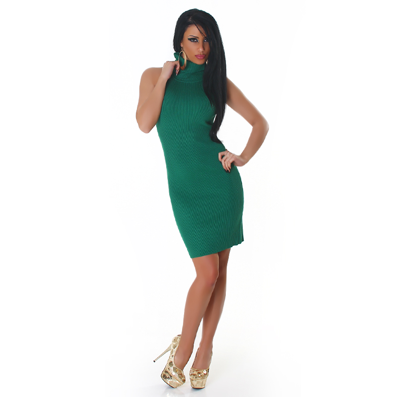 Green High-Neck Sleeveless Sweater Dress