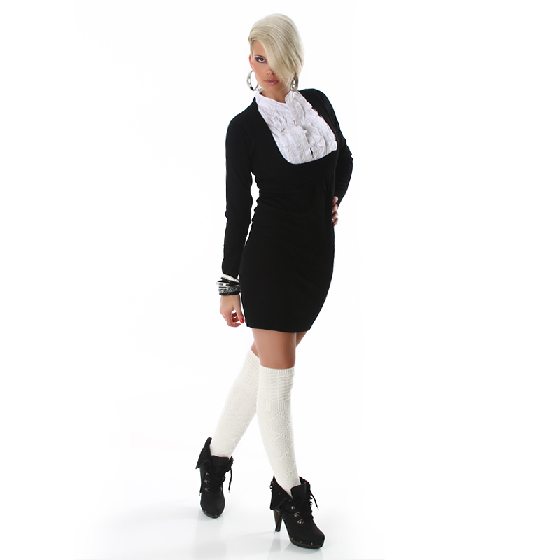 Black Long Sleeve Office Sweater Dress