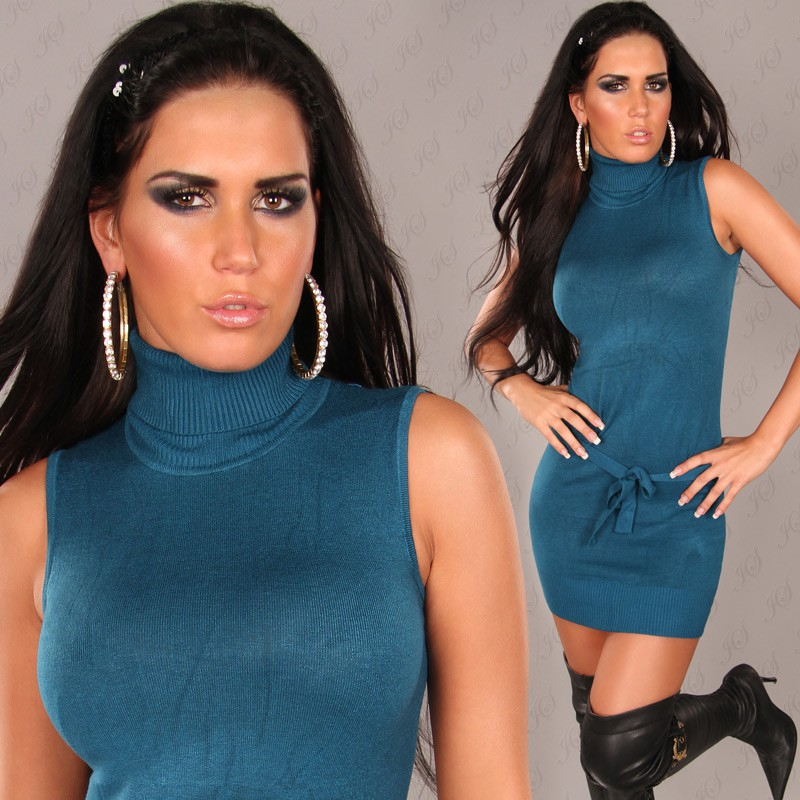 Teal Sexy Turtelneck Longsweater-Minidress With Belt