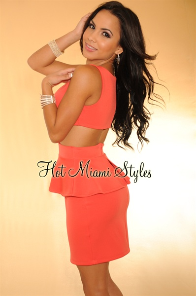 Coral Peplum Key-Hole Back Dress