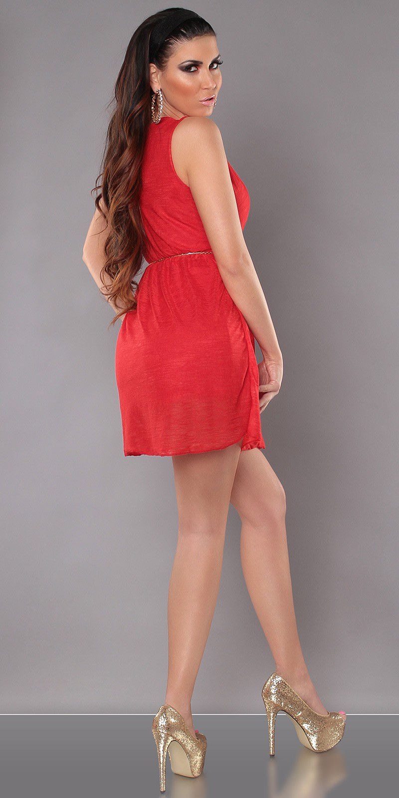 Red Sexy KouCla Minidress With V-Neck Snd Belt