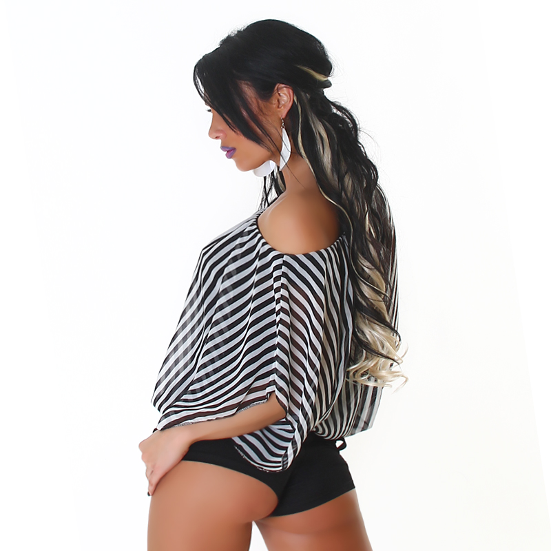 Black Striped Off-Shoulder Top