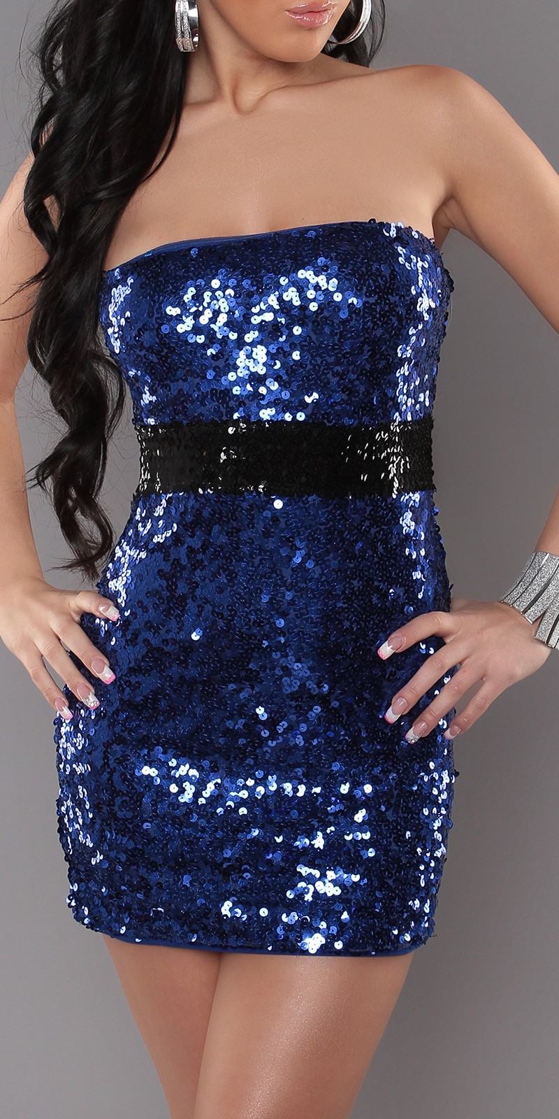Blue Sexy Bandeau-Minidress With Sequins