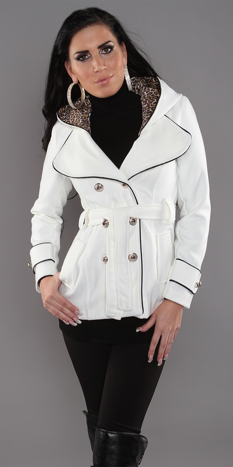 White Trendy Short Coat With Waistbelt