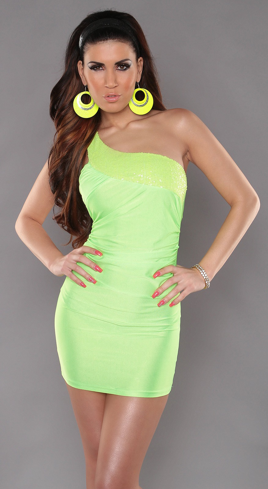 Green One Shoulder Sequined Club Dress