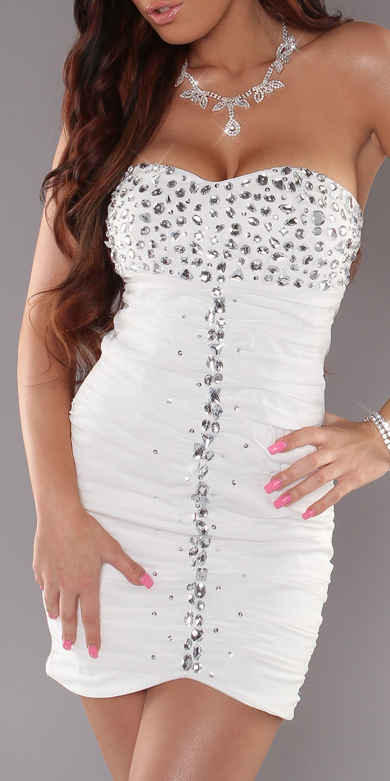 White Slinky Strapless Evening Dress With Rhinestones