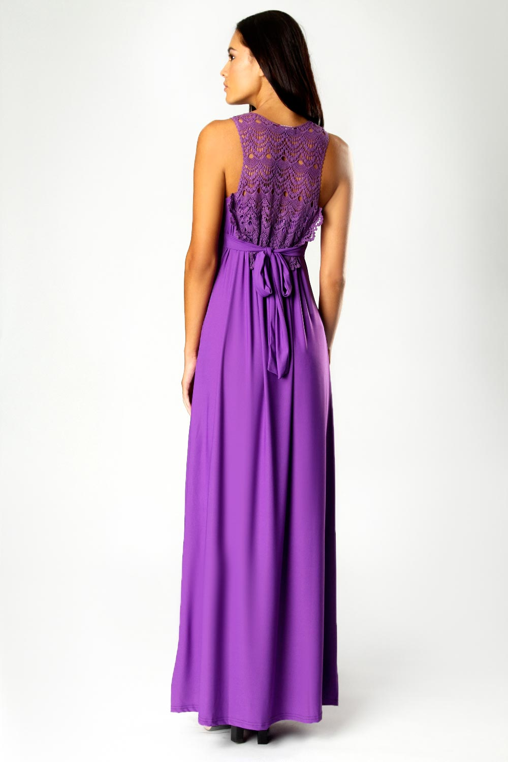 Purple Jess Crossover Front Lace Back Maxi Dress