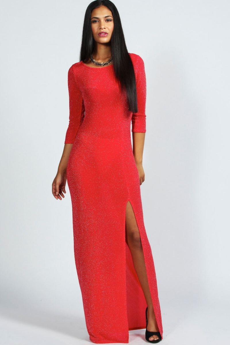 499cd392856 Red Abigail Metalic Long Sleeve Front Split Maxi Dress
