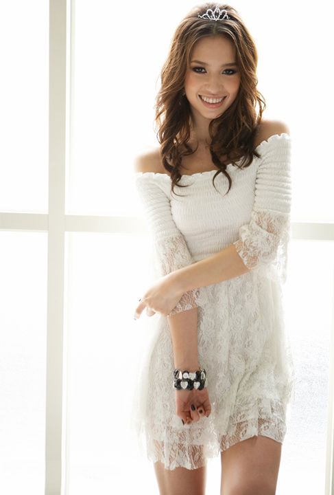 white lace babydoll smocked dress charmlook. Black Bedroom Furniture Sets. Home Design Ideas