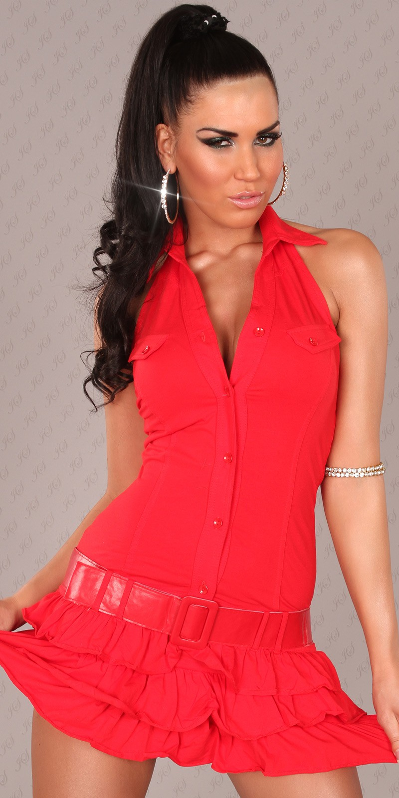 Red Ruffled Mini-Dress With Belt