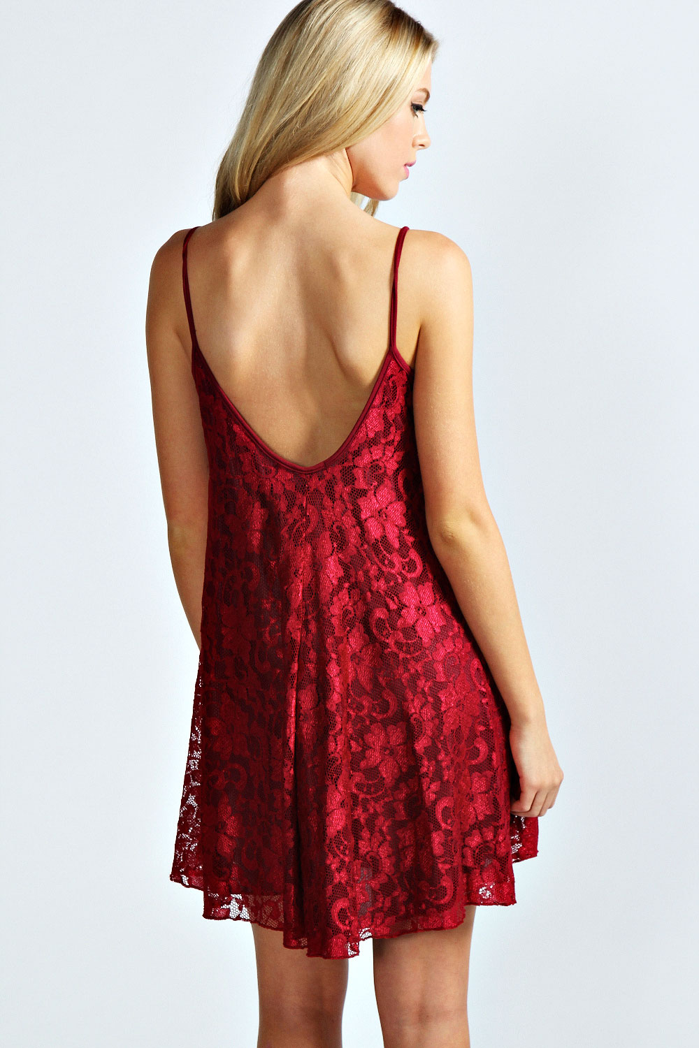 Berry Nicola Strappy Lace Swing Dress