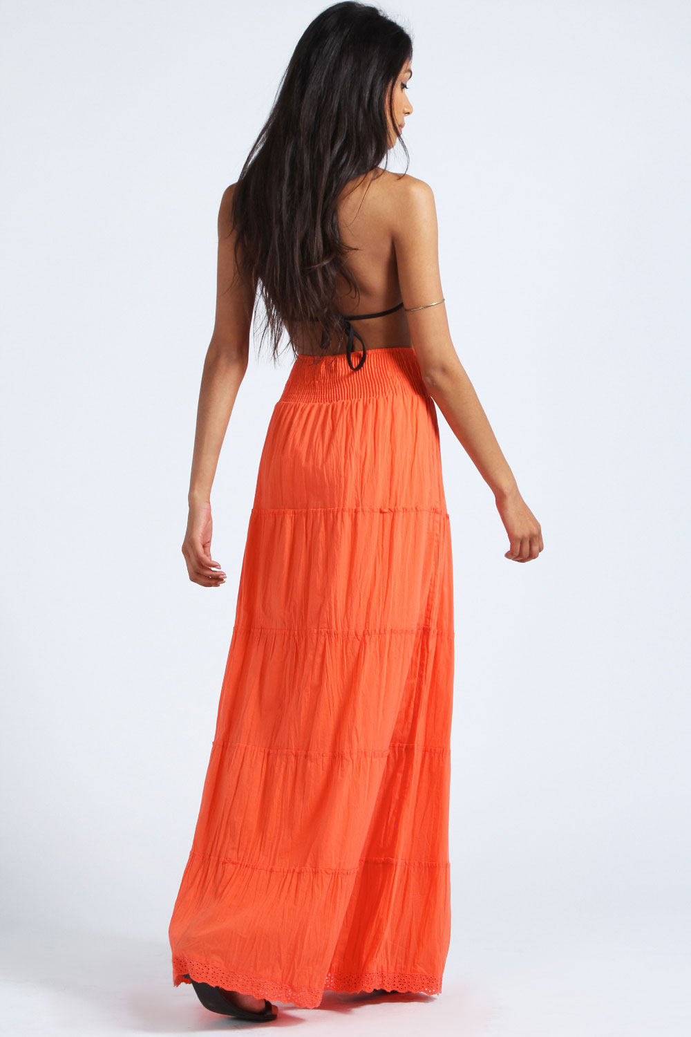 Orange Aleah Crochet Trim Ruched Side Maxi Skirt