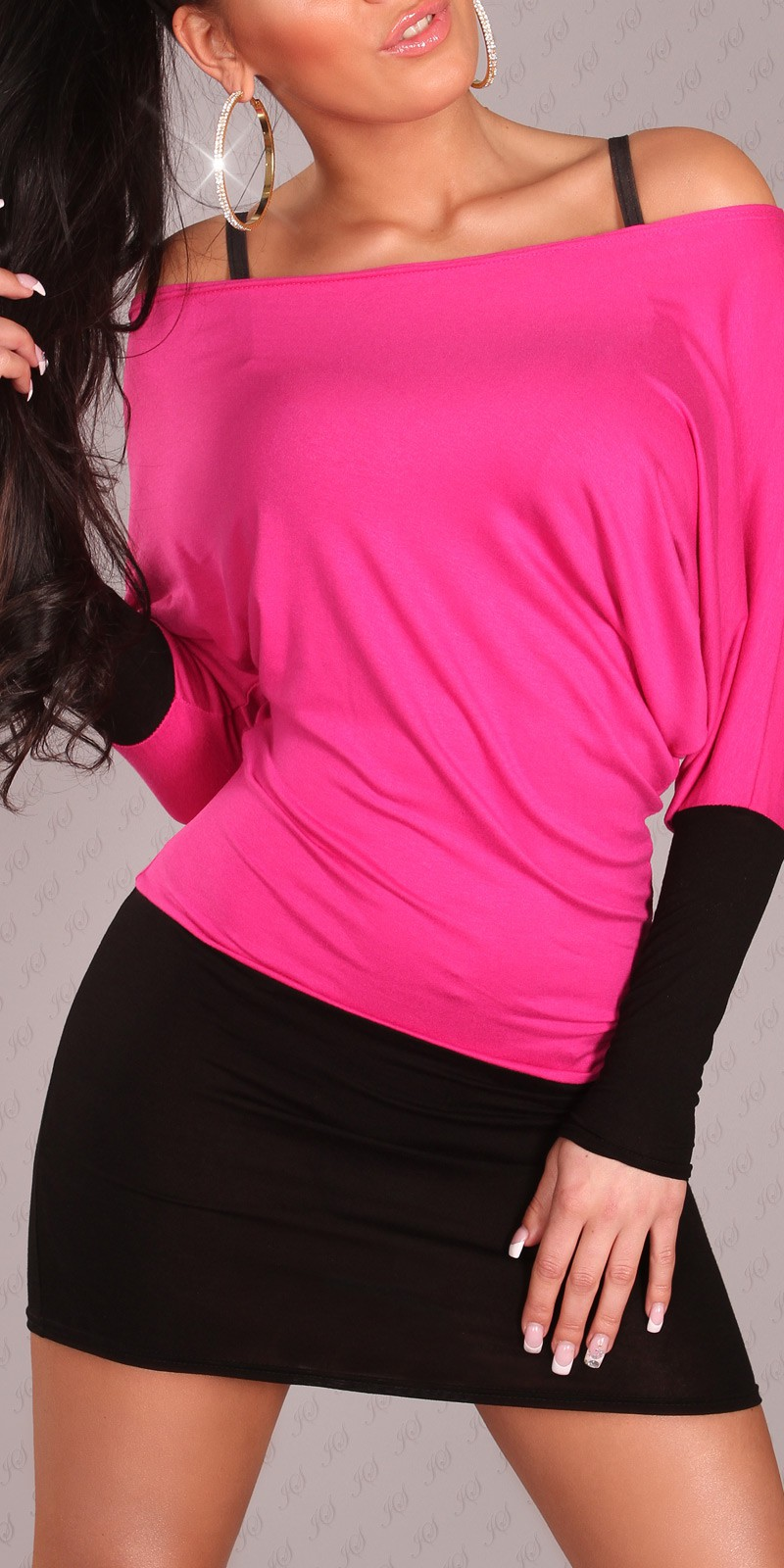 Black-Fuchsia Two-Color Off-Shoulder Dress