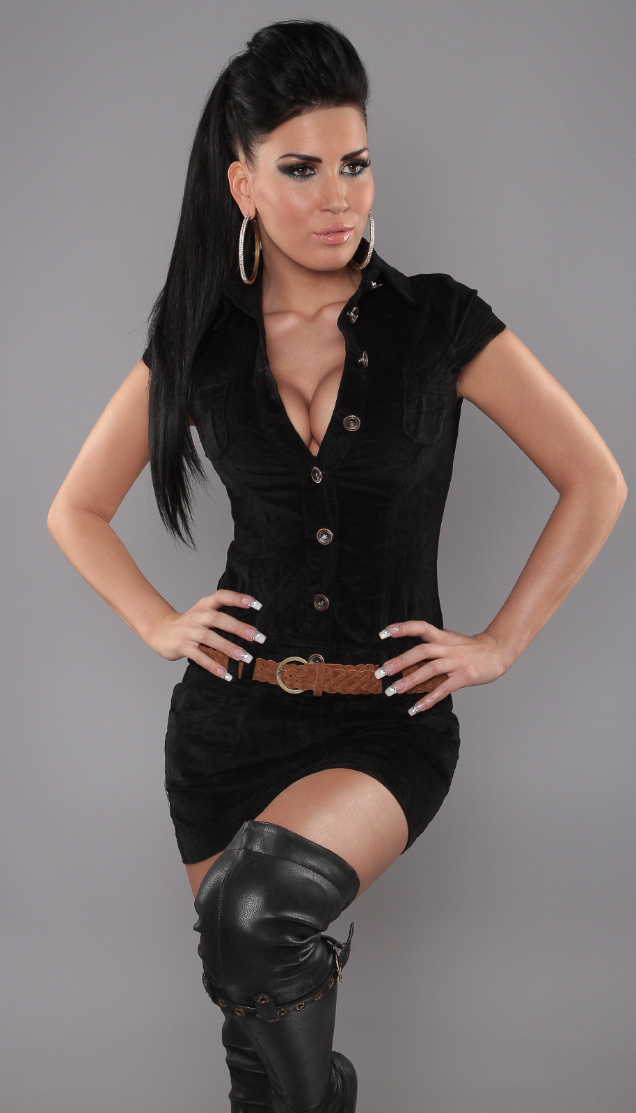 Black Sexy Buttoned Minidress With Belt