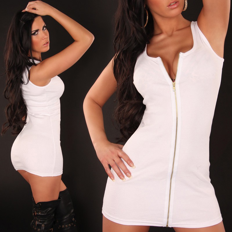 White Sexy Minidress With Zipper
