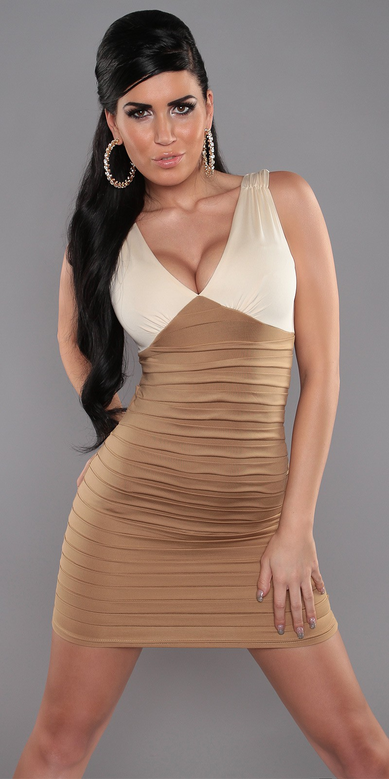 Beige-Cream Two-Color V-Neck Pleated Slinky Dress