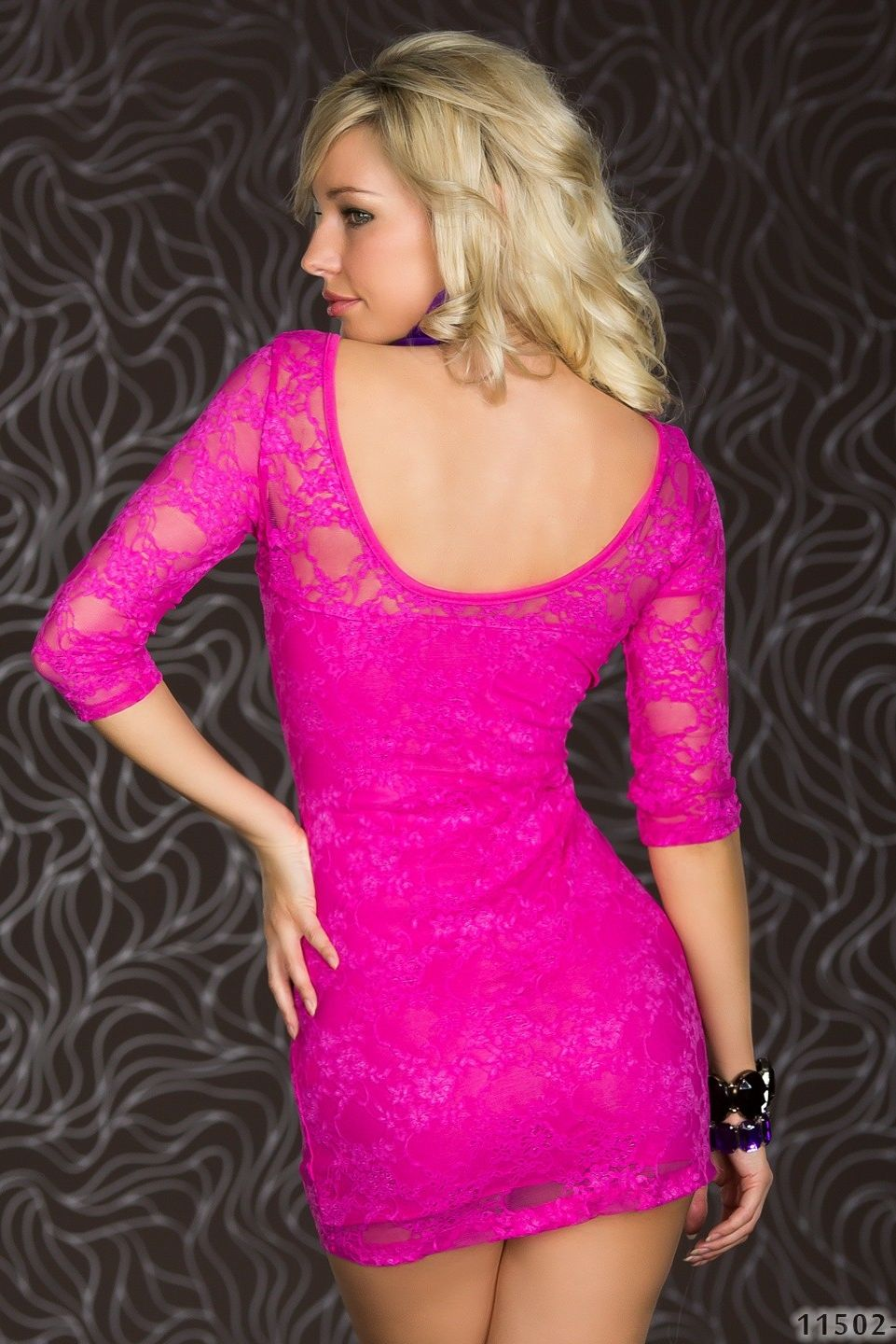 Pink Lace 3/4 Sleeves Dress