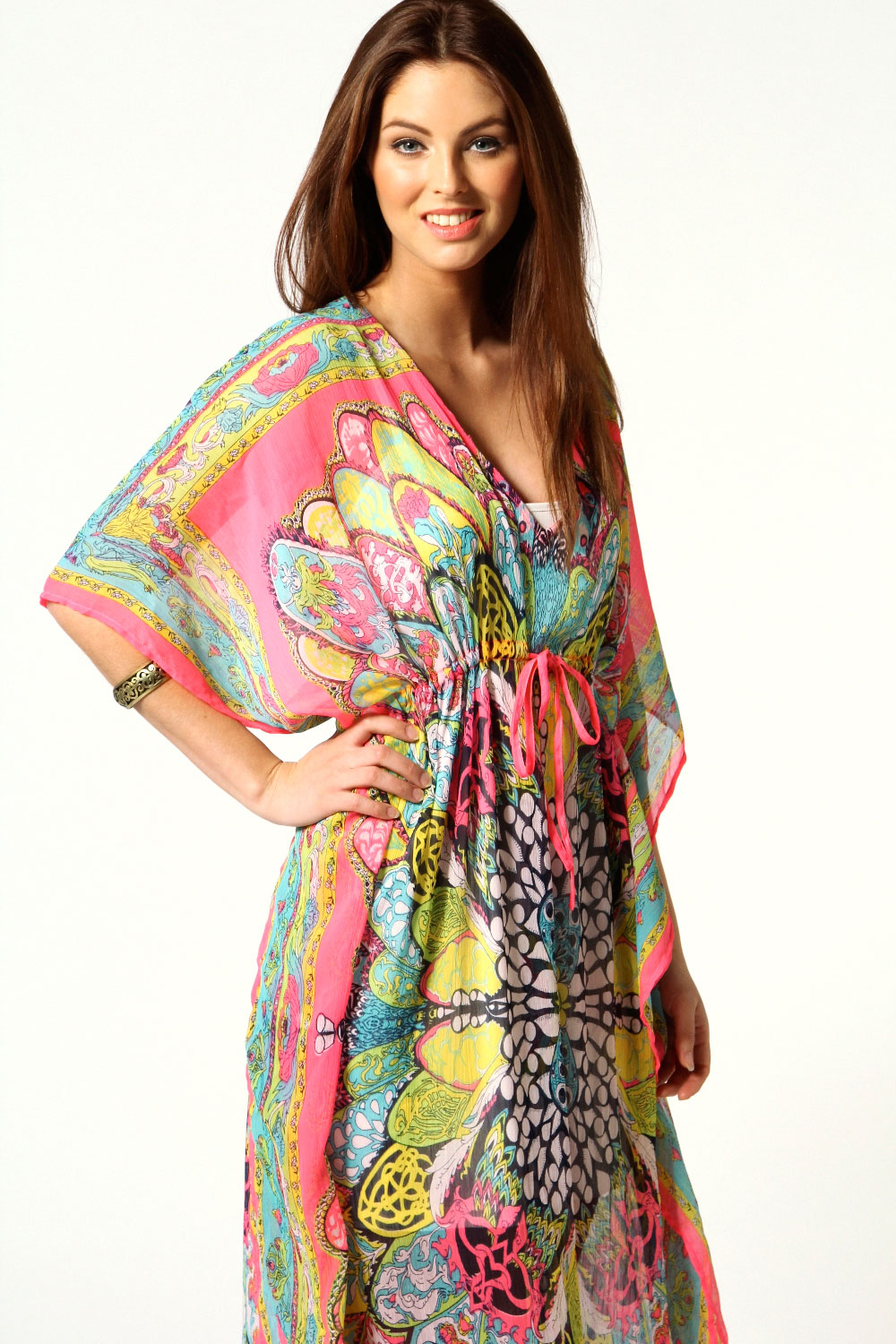 Pink Dolly V Neck Paisley Neon Kaftan Dress