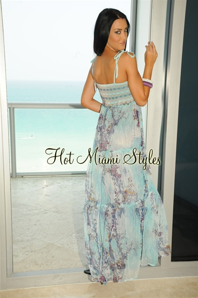 Turquoise Smock Top Sleeveless Maxi Dress