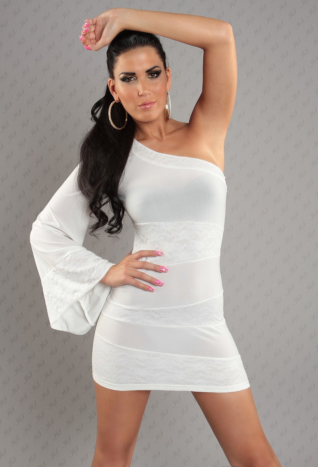 White Asymmetrical One Sleeve Lace Insets Dress