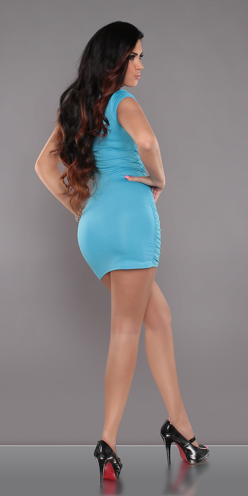Turquoise Square Neck Dress With Lace Insert