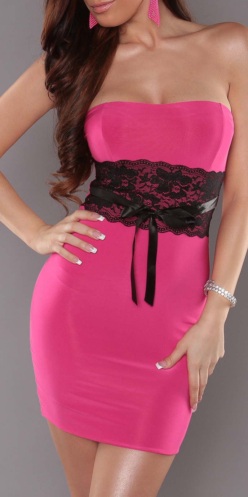 Fuchsia Sexy Strapless Dress With Lace Waistband