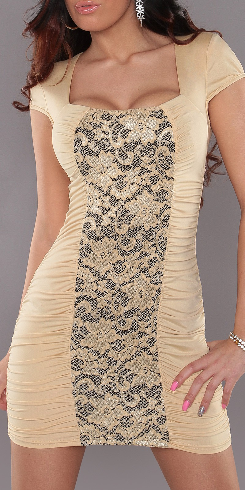 Champagne Square Neck Dress With Lace Insert