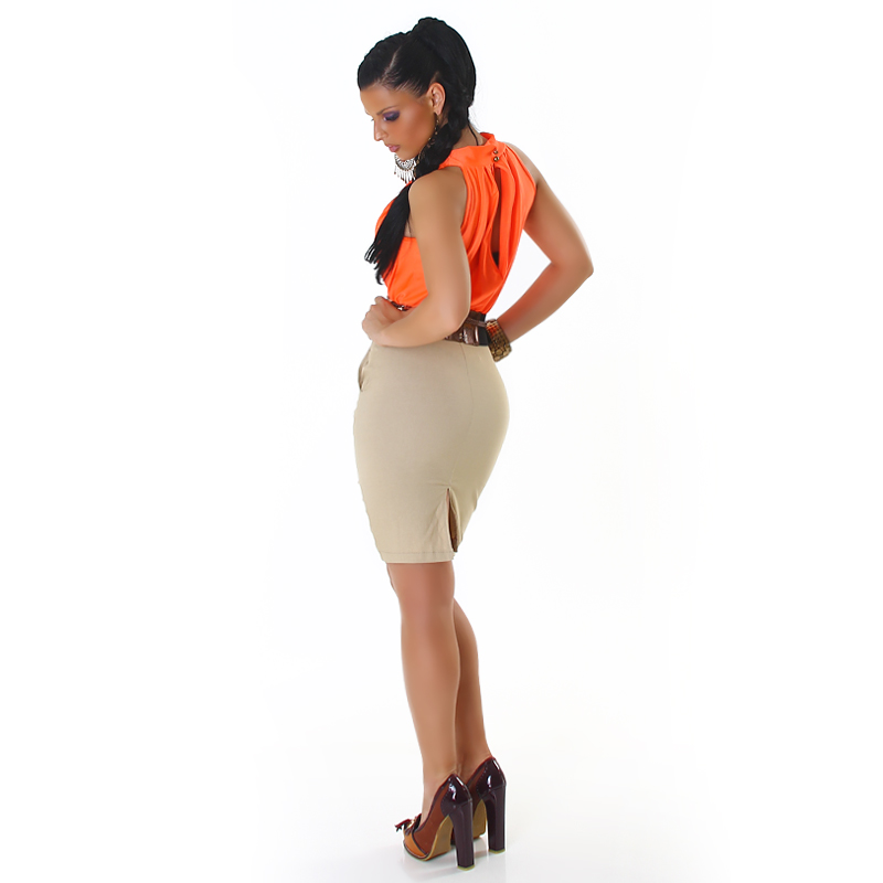 Orange-Beige Two-Color Sleeveless Dress With Bronze Belt