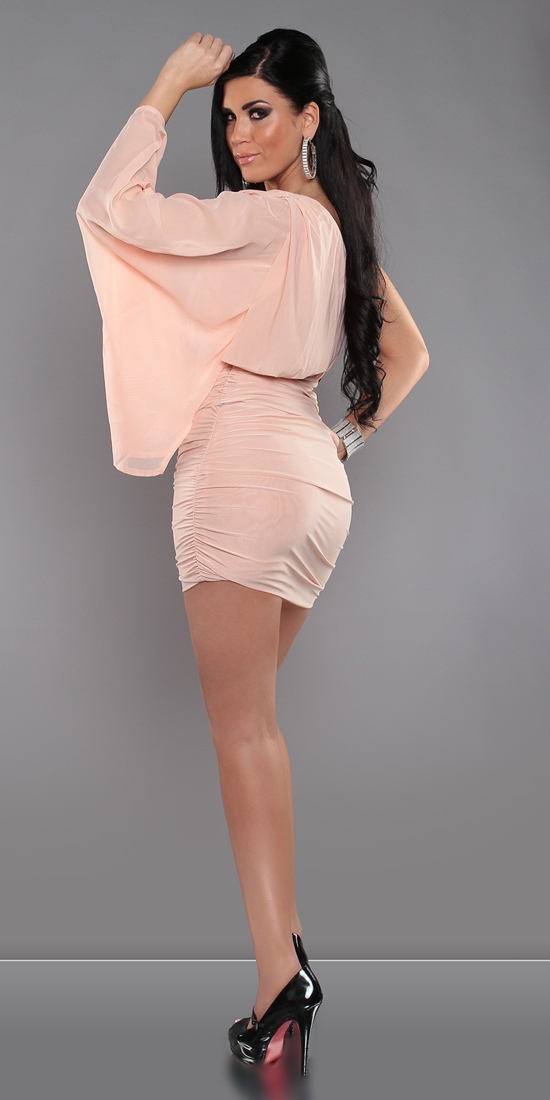 Coral Sexy KouCla One-Arm Minidress
