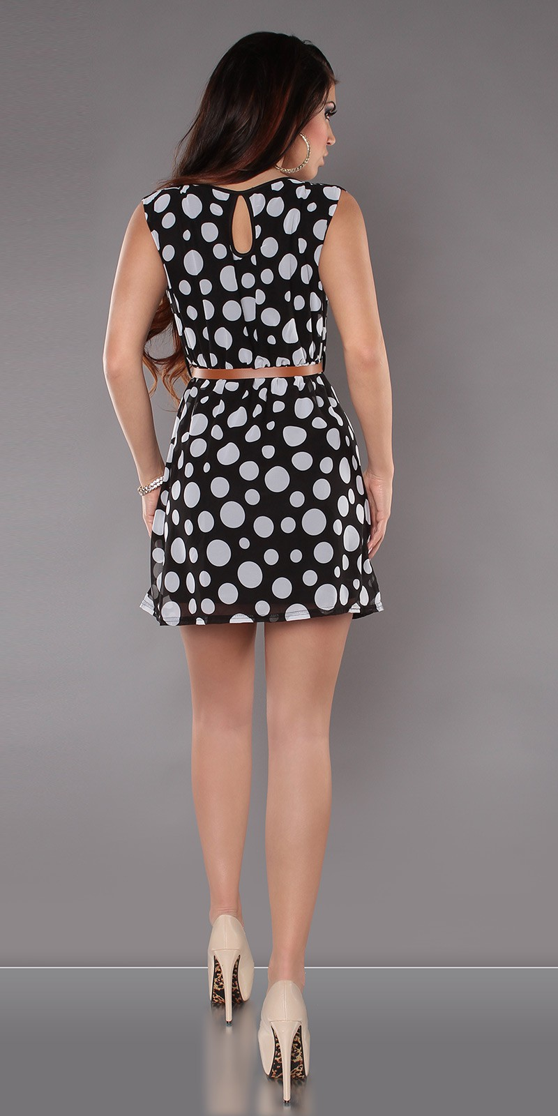 Black Sleeveless Belted Polka Dot Short Dress