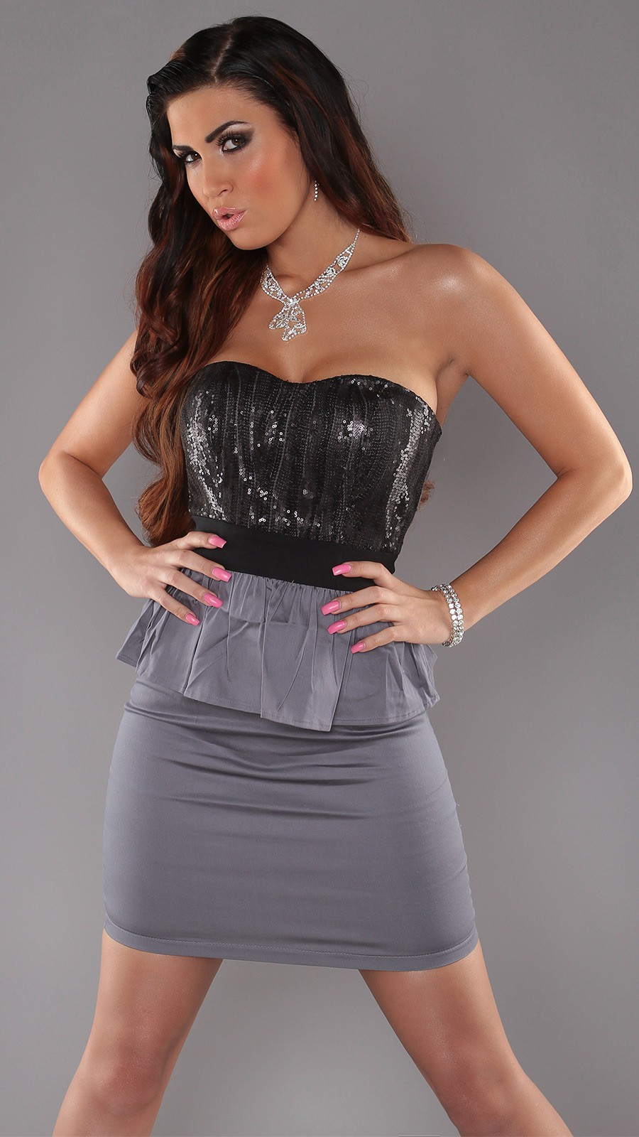 Grey Peplum Sequined Strapless Evening Dress