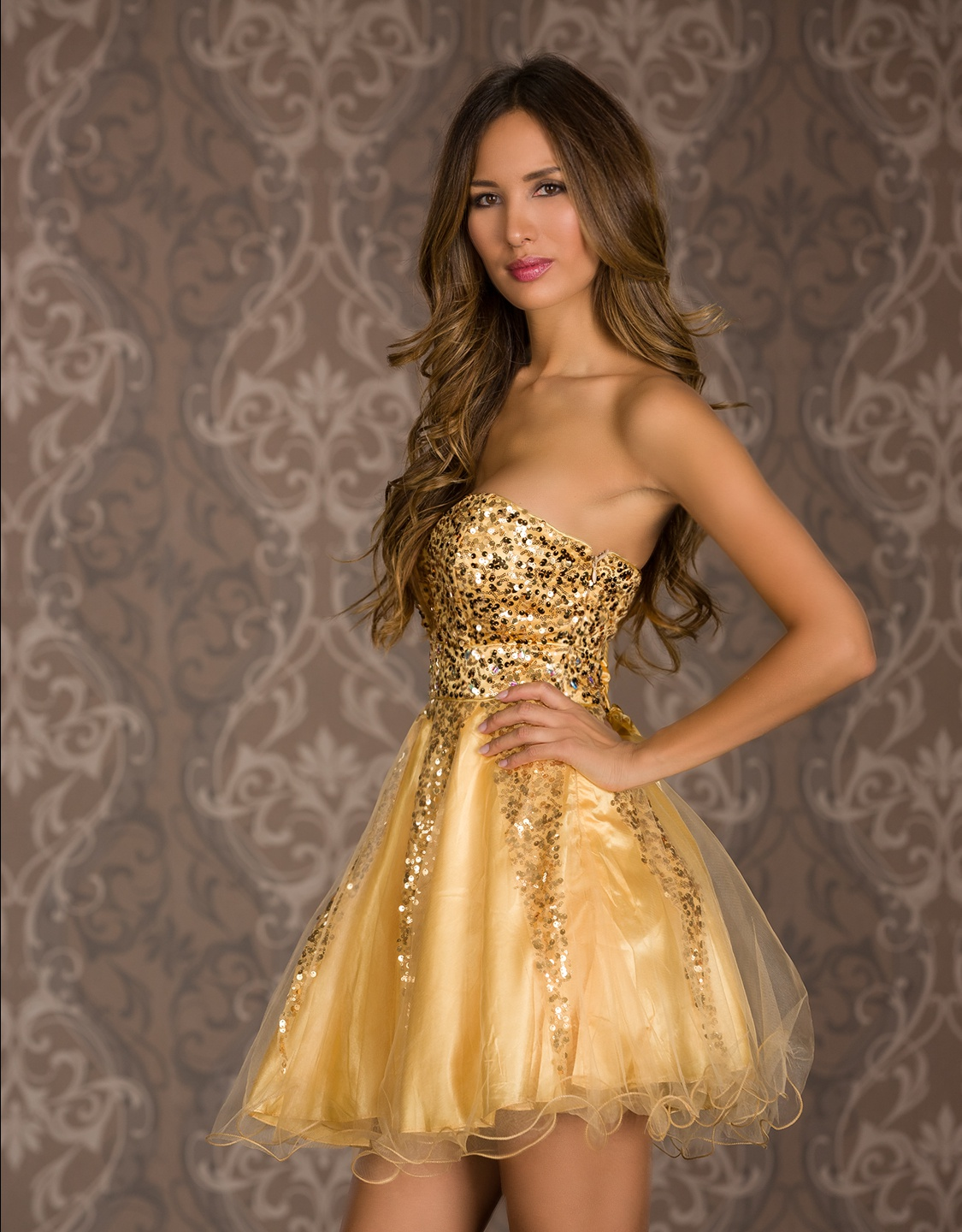 Gold Sequined Lace-Up Strapless Prom Dress With Puffy Skirt